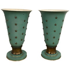 Pair of French Sea Blue & Star Motif Torchères, in the Style of Jacques Adnet