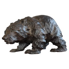 Small & Special Style Hand Carved Standing Grizly Bear Sculpture from 1940-1960
