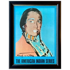 Authentic Andy Warhol Signed Poster 'The American Indian Series' Russell Means