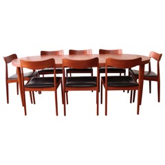 Kai Kristiansen Danish Modern Dining Table and Eight Chairs