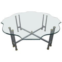 Steel and Brass Coffee Table, Maison Jansen Style