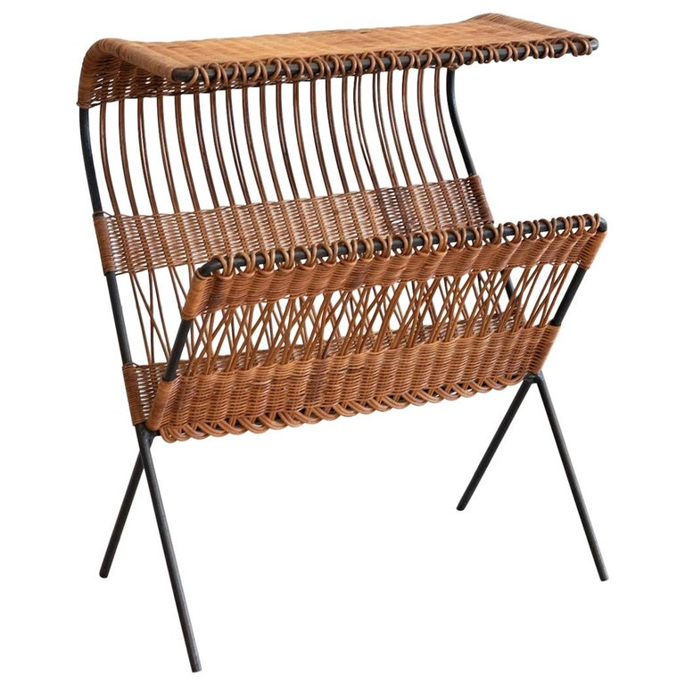 Italian Wicker and Iron Table / Magazine Rack For Sale