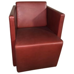 Red Leather Joel Club Chair