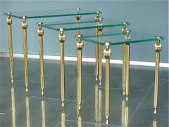 Set of Three Midcentury Nesting Side Tables Brass Glass Maison Baguès Jansen
