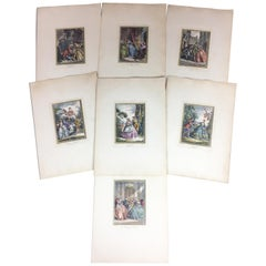 Set of 7 Late 18th Century Neoclassical François Boucher French Engraving Prints