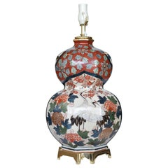 Massive Japanese Vintage Imari Gilded Porcelain Lamp, circa 1970