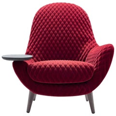Mad King Armchair in Fabric or Leather with Intergrated Oak Side Table