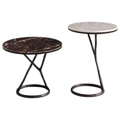 Ilda Side Table in Bronze Brass Casting or Gold Polish with 8 Marble Top Options
