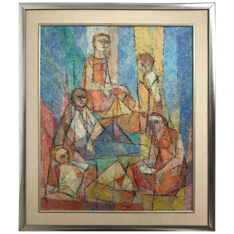Abstract Figural Casein on Panel by Hildegarde Haas, Titled Picnic For Sale