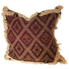 Custom Pillow Cut from a Hand Loomed Wool Antique Moroccan Rug, Atlas Mountains
