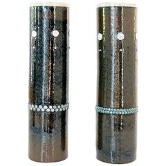 Two Elegant Tall Scandinavian Modern Midcentury Ceramic Vases Sylvia Leuchovios