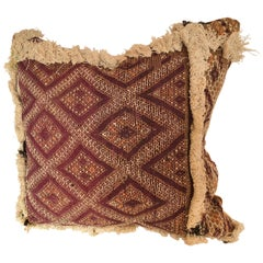 Custom Pillow Cut from an Antique Handwoven Wool Moroccan Rug, Atlas Mountains