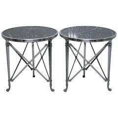 Pair of Ralph Lauren Cannes Gueridon Occasional Tables Burkina Marble