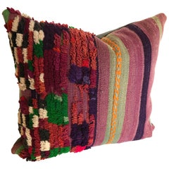 Custom Pillow Cut from a Vintage Hand-Loomed Wool Moroccan Rug, Atlas Mountains