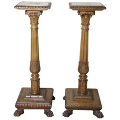 19th Century Italian Renaissance Style Walnut Carved Pair of Columns