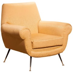 Gigi Radice for Minotti Lounge Chair, Golden Jacquard and Brass Stiletto Legs