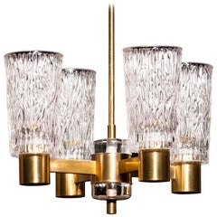 1950s, Brass and Crystal Glass Chandelier by Orrefors, Sweden