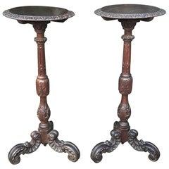 Large & Marvelous Pair of Handcrafted Oak Gueridon Tables, Pedestals, Columns