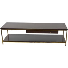 Large Brass Framed Coffee Table by Paul McCobb for Calvin