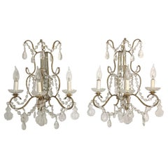 Pair of Florentine Beaded Gilt Metal and Crystal Sconces