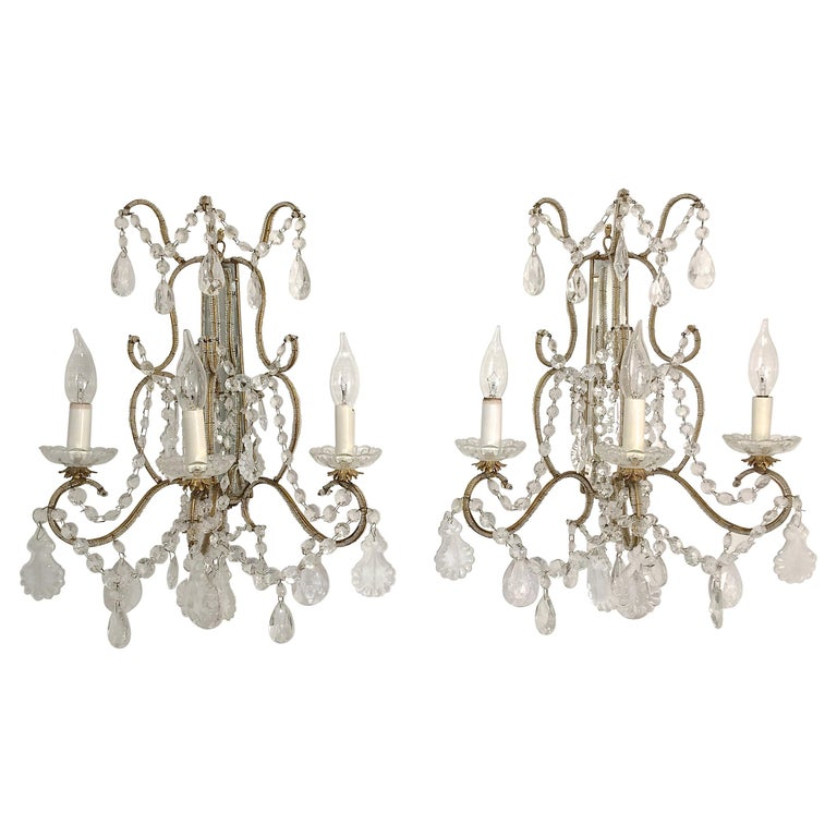 Pair of Florentine Beaded Gilt Metal and Crystal Sconces For Sale