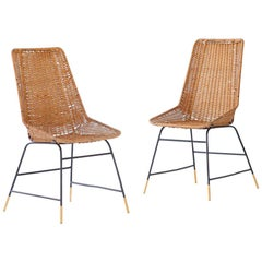Pair of Italian Wicker Brass and Black Enameled Iron Chairs, 1950s
