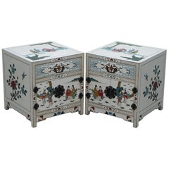 Pair of Vintage Chinese White Lacquered Hand Painted Side Table, Bedside Chests