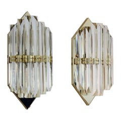 Novaresi Brass and Murano Glass Hexagon Sconce, Italy
