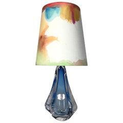 Midcentury Modern Val St. Lambert Cobalt Blue Blown Crystal Lamp, 1950s, Belgium