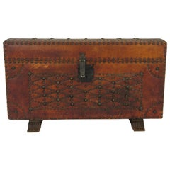 1950s Leather Studded Dome Top Trunk