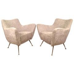Pair of Italian Ico Parisi Style Armchairs