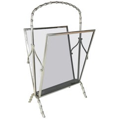 Midcentury Maison Baguès Silvered Brass Faux Bamboo Magazine Rack, 1950s, France