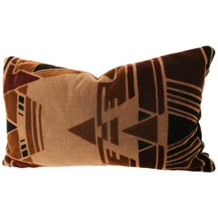 Custom Pillow Cut from a Vintage Mohair Amsterdam School Textile, Netherlands