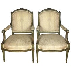 Pair of Original French Louis XVI Armchairs, circa 1900s