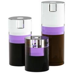 Set of Three Veritas Gelato Ombre Glass Column Candlesticks