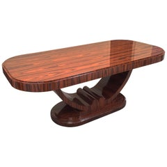 Art Deco D Shaped Oval Dining Table