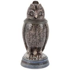 Glazed Ceramic Owl Form Tankard with Pewter Mounts