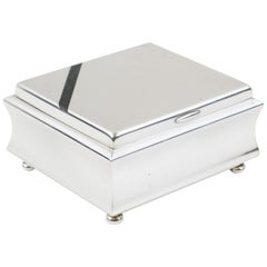 WMF for Ikora Art Deco Silver Plate Decorative Box with Black Enamel