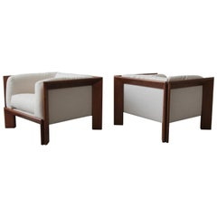 Oversized Pair of Midcentury Angular Solid Walnut Cube Lounge Chairs