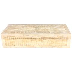 Large Tessellated Hinged Bone Box