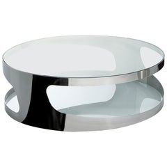Stainless Steel Clear Tab Glass Coffee Table