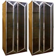 Bird's-Eye Maple, Chrome & Glass Display Cabinets Attributed to Saporiti Italia