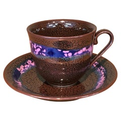 Japanese Brown Blue Hand-Glazed Porcelain Cup and Saucer by Master Artist, 2018