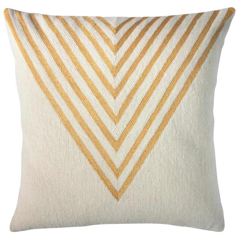 Modern Katherine Triangle Hand Embroidered Ivory Throw Pillow Cover