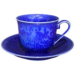 Japanese Contemporary Hand-Glazed Blue Porcelain Cup and Saucer by Master Artist