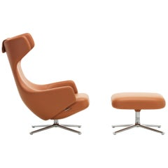 Vitra Grand Repos and Ottoman in Cognac Leather by Antonio Citterio