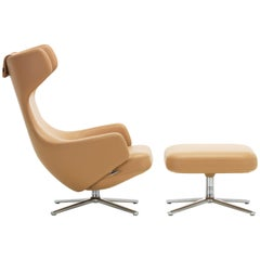 Vitra Grand Repos and Ottoman in Cashew Leather by Antonio Citterio