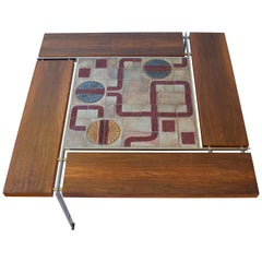Danish Large Rosewood & Chrome Coffee Table by Svend Aage Jessen & Sejer Pottery