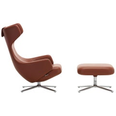 Vitra Grand Repos and Ottoman in Brandy Leather by Antonio Citterio
