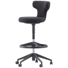 Vitra Pivot High Stool in Black Single Knit by Antonio Citterio